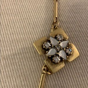 J. Crew Jewelry - J Crew brushed gold and gemstone necklace